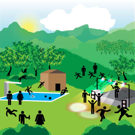 summer camp  for young people with stage and pool Stock Vector - 14596043