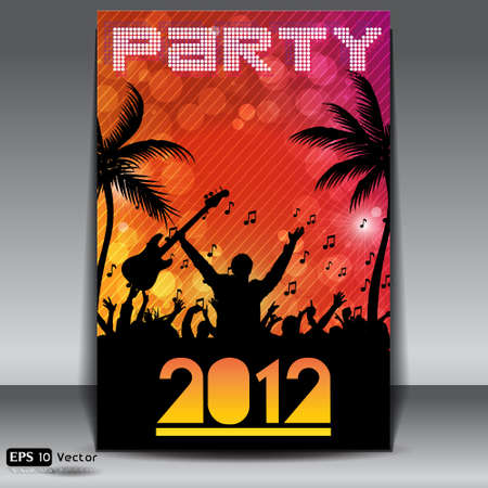 Summer Beach Party Flyer with Dancing Young People Stock Vector - 14648834