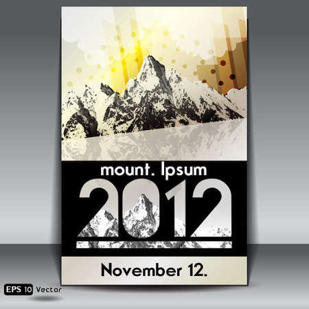 snow capped mountains event retro flyer Vector