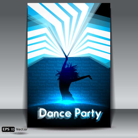 Disco Party Background with young woman silhouette Illustration
