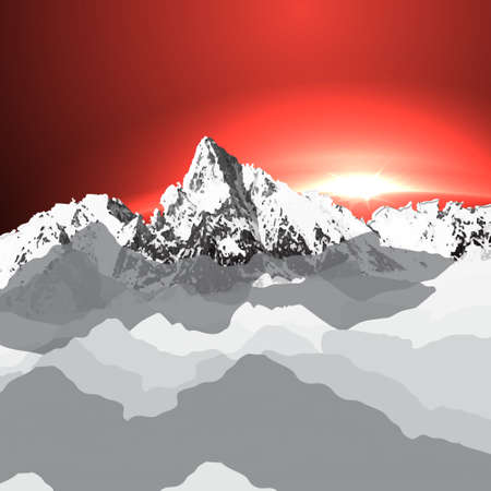landscape with mountain top  over the clouds and sunset  Vector