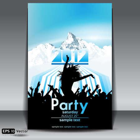 winter fun: landschap met berg boven de wolken met kleurrijke strepen date flyer met dansende jongeren Stock Illustratie