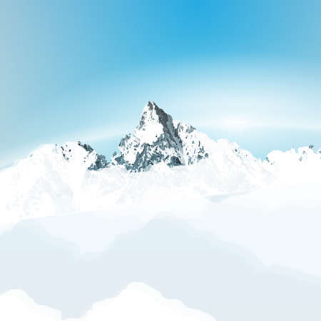 peaceful scene:  landscape with mountain top  over the clouds