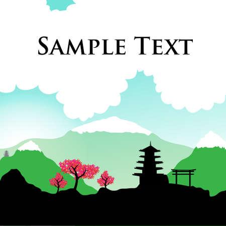 japanese temple: Japanese spring silhouette postcard
