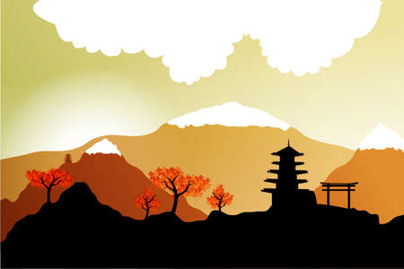 Japanesesilhouette postcard  Illustration