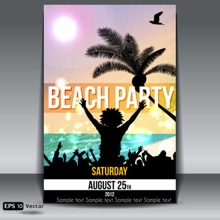 sensation: Summer Beach Party Flyer with Dancing Young People