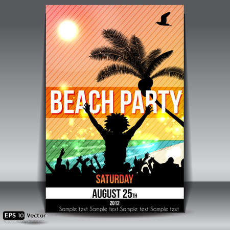 beachparty: Summer Beach Party Flyer mit Dancing Young People