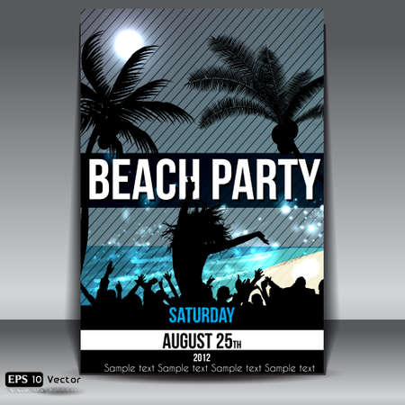 Night Summer Beach Party Flyer with Dancing Young People Vector