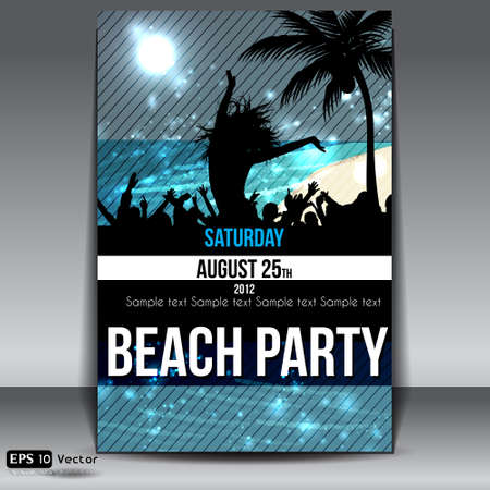 Night Summer Beach Party Flyer with Dancing Young People Stock Vector - 15198702