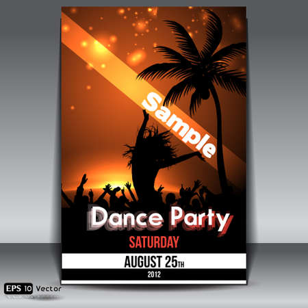 Summer Sunset  Beach Party Flyer with Dancing Young People Vector