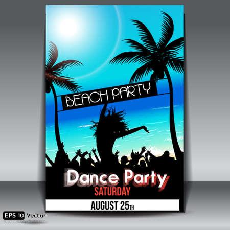 fiesta en la playa: Summer Beach Party Flyer con Dancing J�venes Vectores