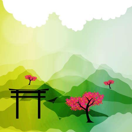 Japanese spring silhouette postcard
