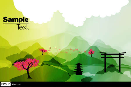 kelet ázsiai kultúra: Japán tavasz sziluett képeslap Illusztráció