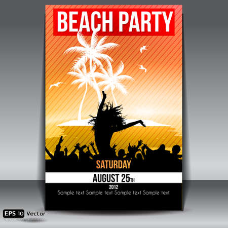 Summer Island Sunset  Beach Party Flyer with Dancing Young People Illustration