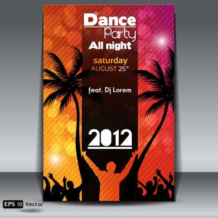 fiestas discoteca: Summer Beach Party Flyer con Dancing J�venes Vectores