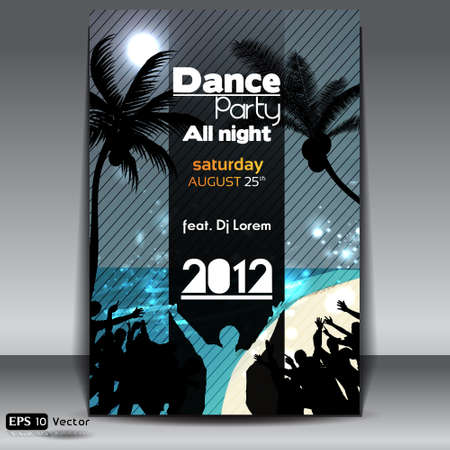 Night Summer Beach Party Flyer with Dancing Young People Stock Vector - 15198750