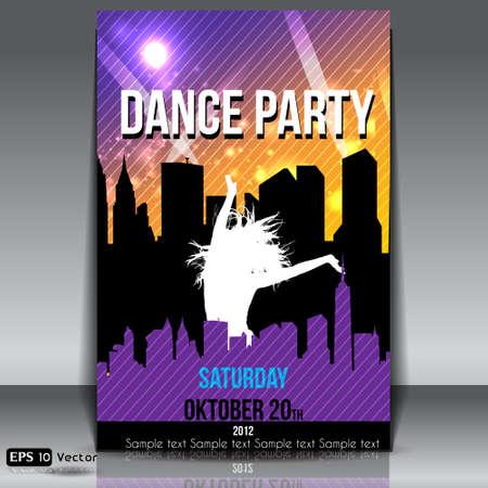 Urban Dance Party flyer template vector Vector