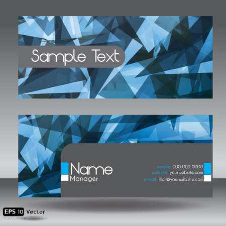 Front and Back Blue Modern Corporate Business Card Set Vector
