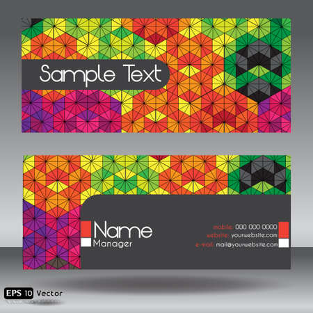 Front and Back Hexagon Kaleidoscope Modern Corporate Business Card Set Vector