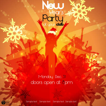 Christmas Party Event Background with Crowd  Vector
