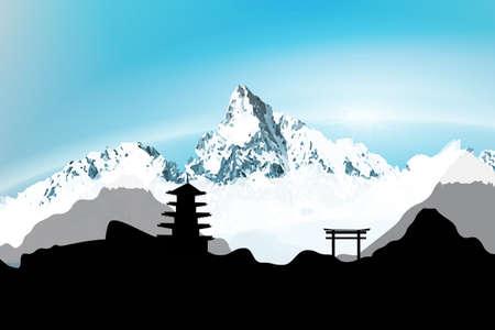 japanese temple: Japanese Winter silhouette postcard  Illustration