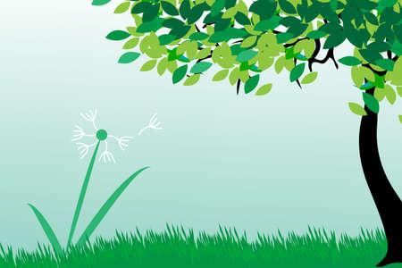 field and sky: Dandelions on summer field