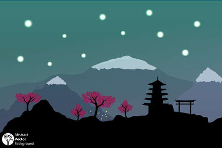 Night time Japanese silhouette postcard  Vector