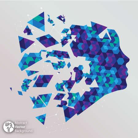 destruct: Blue shattered face Illustration Illustration
