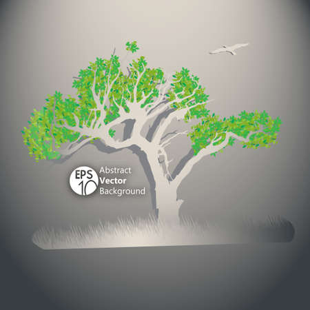 oak tree silhouette: Tree illustration with green leafs and grass Illustration