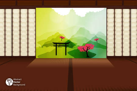 feng shui: Japanese design of Traditional Japanese room with landscape view