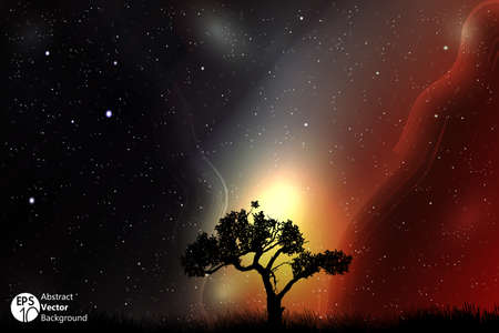 moonrise: A single tree in a field with beautiful space and moon background Illustration