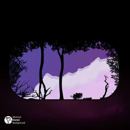 overgrown: Overgrown cave at night  Illustration