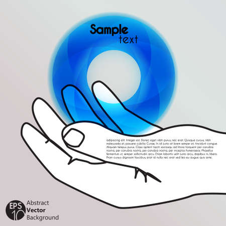 hand holding a circle icon, isolated vector symbol Stock Vector - 17777038