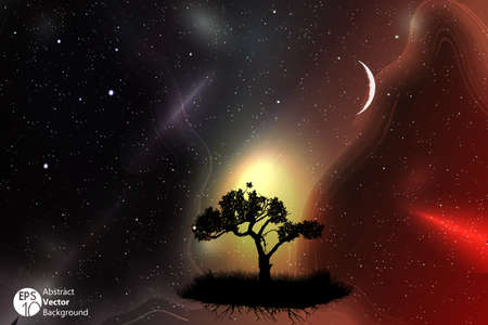 moonrise: A single tree in a field with beautiful space and moon background