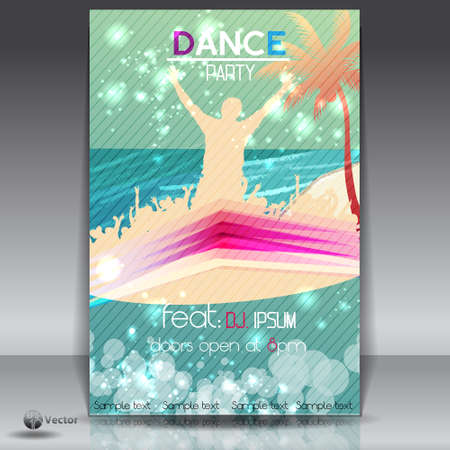 urban dance: Summer Beach Party Flyer with Dancing Young People