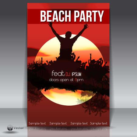 Summer Beach Sunset  Party Flyer Vector
