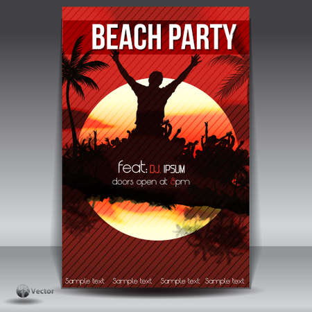 summer beach party: Summer Beach Sunset  Party Flyer Illustration
