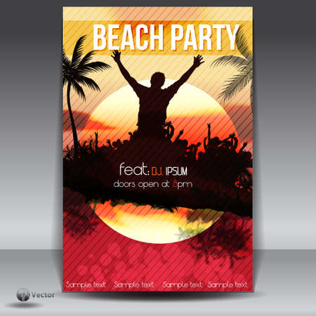 tree disc: Summer Beach Sunset  Party Flyer Illustration