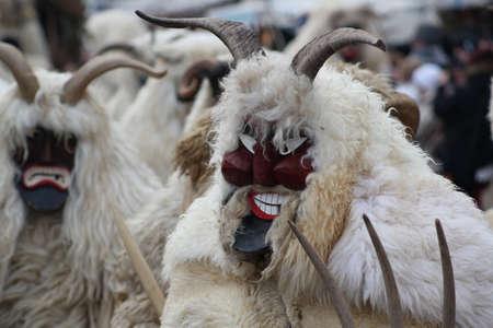 farsang: Mohacs, Hungary � February 10, 2013 �  Unidentified participants at the Mohacsi Busojaras Carnival