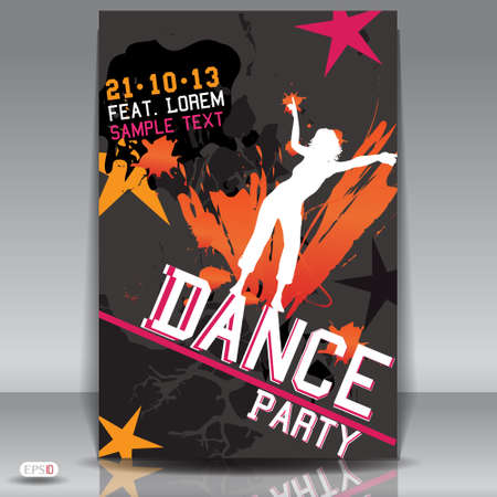 Party design template with girl silhouette vector Illustration