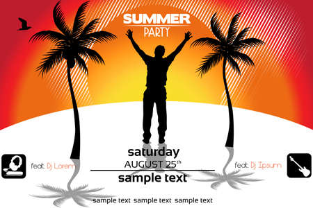 Sunset  Party Flyer Stock Vector - 17995517