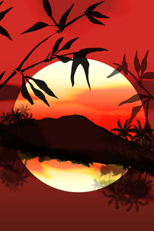 Bright colorful sunset  vector over the sea and bamboo  Vector