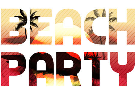 Sunset Beach Summer Party Type Design Vector