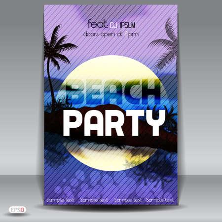moonlit: Sunset Beach Summer Party Flyer Design Illustration