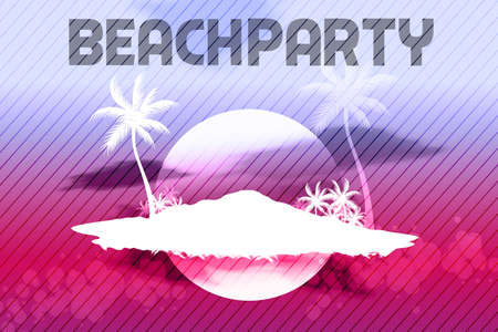 Sunset Beach Summer Party Flyer Design Vector
