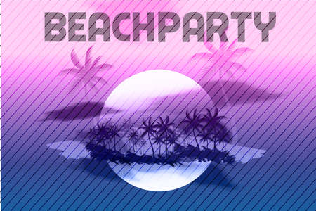 Sunset Beach Summer Party Flyer Design Illustration