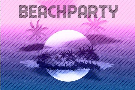 beat brochure: Sunset Beach Summer Party Flyer Design Illustration