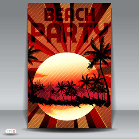 hand beats: Sunset Beach Summer Party Flyer Design Illustration