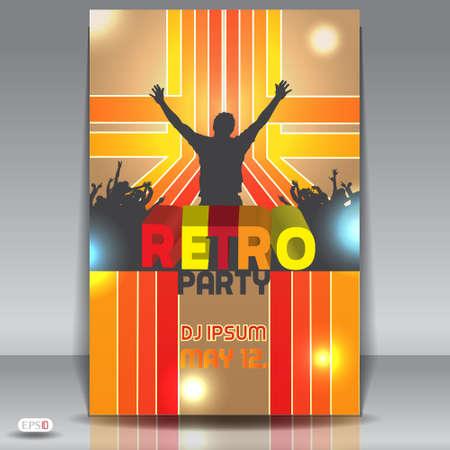 retro disco: Retro discoteca fiesta flyer abstracta plantilla de dise�o
