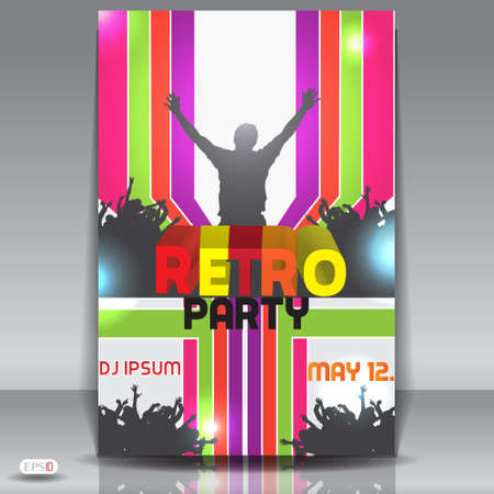 Retro disco party  Abstract flyer design template Vector